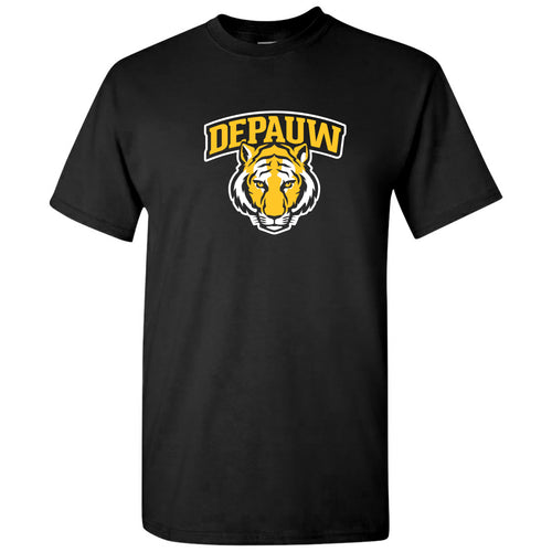 DePauw University Tigers Arch Logo Short Sleeve T Shirt - Black