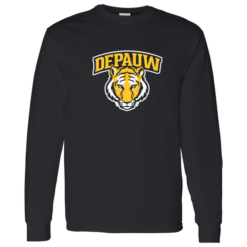 DePauw University Tigers Arch Logo Long Sleeve T-Shirt - Black