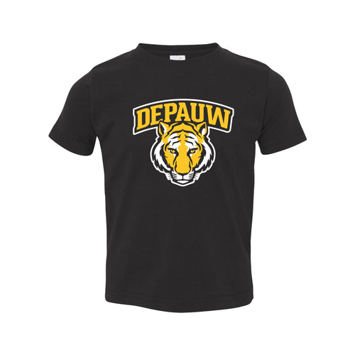 DePauw University Tigers Arch Logo Toddler Short Sleebe T Shirt - Black