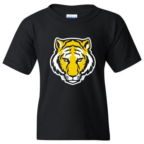 DePauw University Tigers Primary Logo Youth Short Sleeve T Shirt - Black