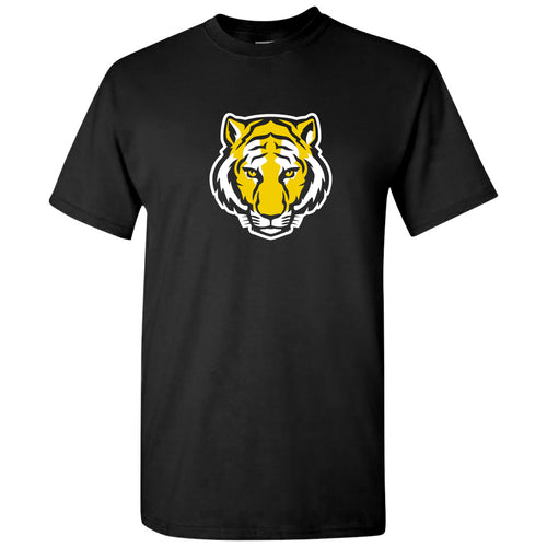 DePauw University Tigers Primary Logo Short Sleeve T Shirt - Black