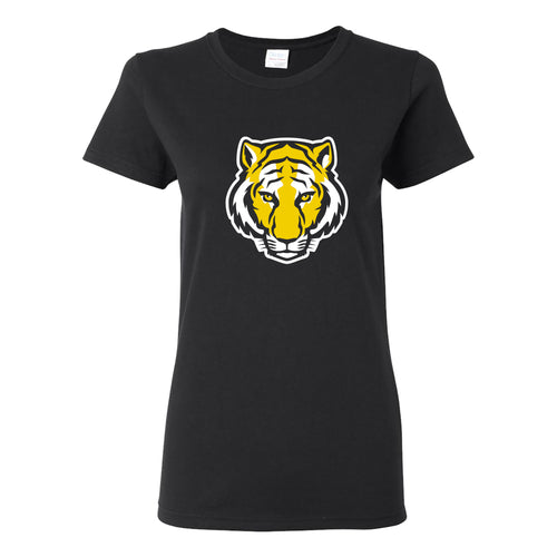DePauw University Tigers Primary Logo Womens Short Sleeve T Shirt - Black