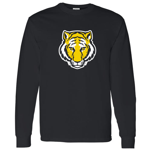DePauw University Tigers Primary Logo Long Sleeve T-Shirt - Black