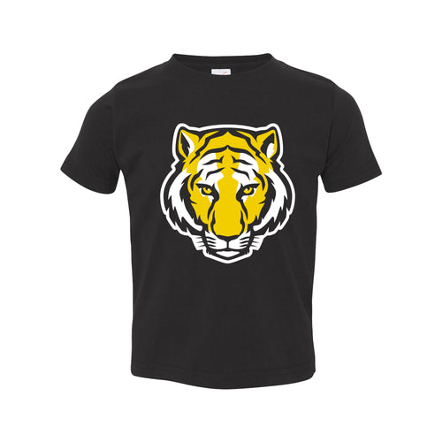 DePauw University Tigers Primary Logo Toddler Short Sleeve T Shirt - Black