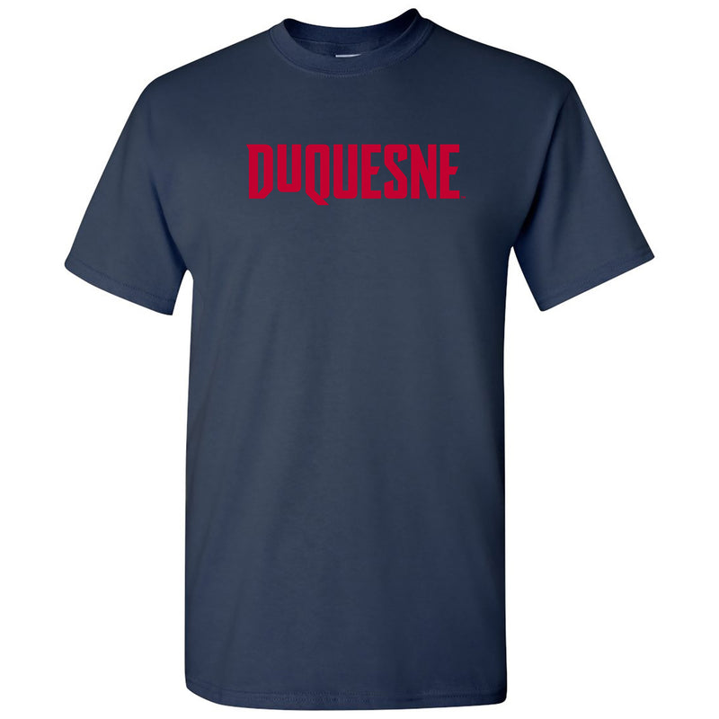 Duquesne University Dukes Basic Block Short Sleeve T Shirt - Navy