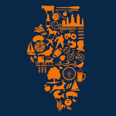 Illinois State Shapes - Navy