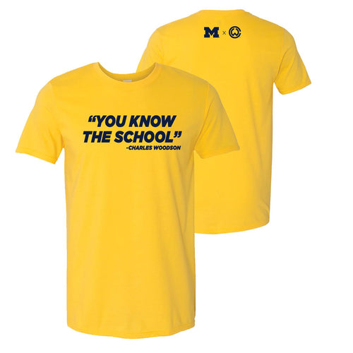 Charles Woodson You Know The School University of Michigan Next Level Short Sleeve T-Shirt - Maize