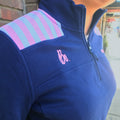 Bo Sig Vineyard Vines Women's Shoulder Stripe 1/4 Zip - Deep Bay/Pink w/ Pink Bo Sig