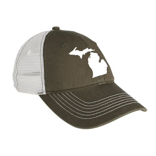 State of Michigan Outline Mesh Back Baseball Cap  - Green