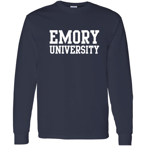 Emory University Eagles  Basic Block Long Sleeve T-Shirt - Navy