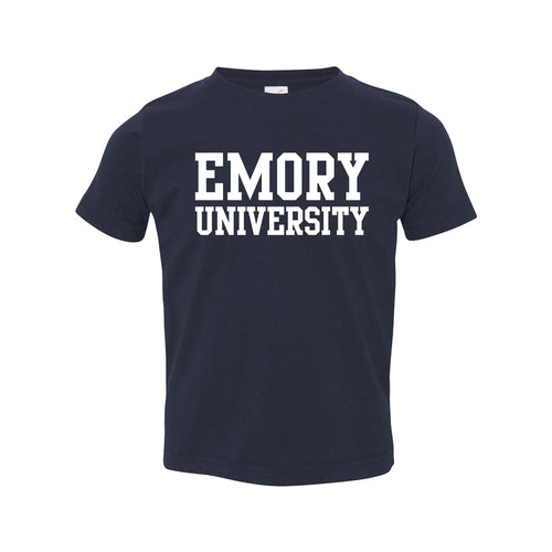 Emory University Eagles Basic Block Toddler Short Sleeve T Shirt - Navy
