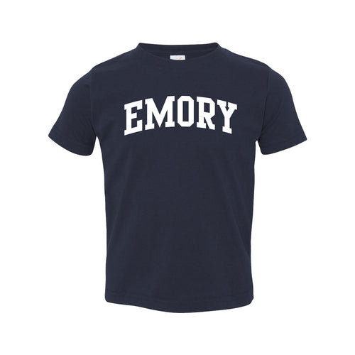 Emory University Eagles Arch Logo Toddler Short Sleeve T Shirt - Navy