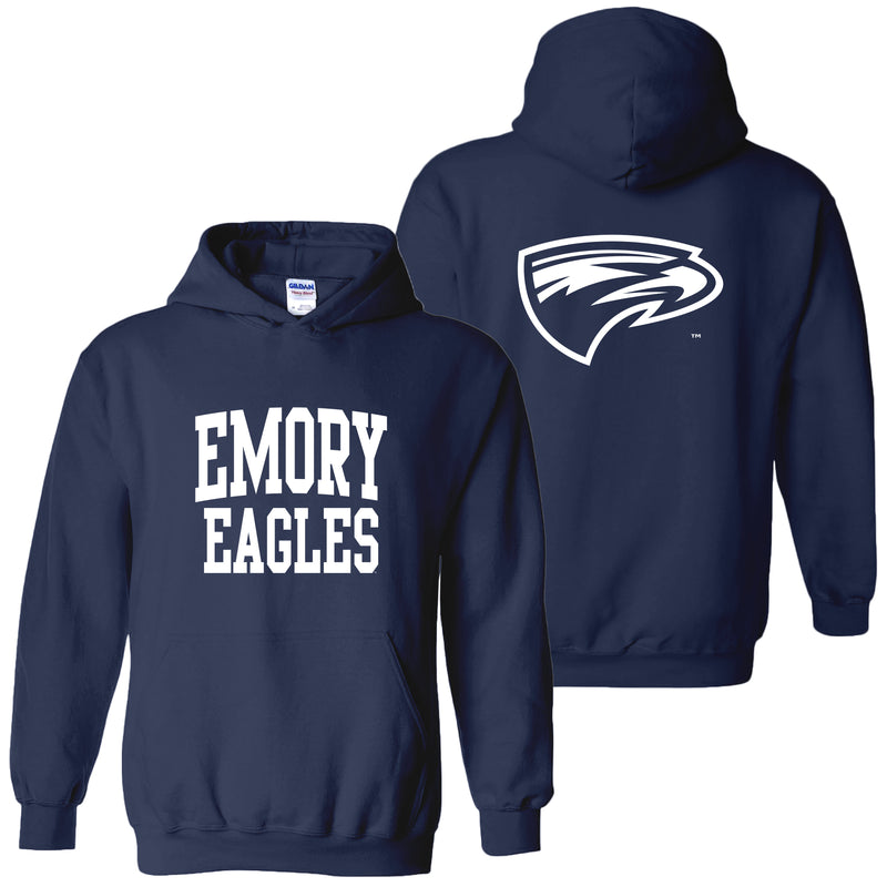 Emory University Eagles Front Back Print Heavy Blend Hoodie - Navy
