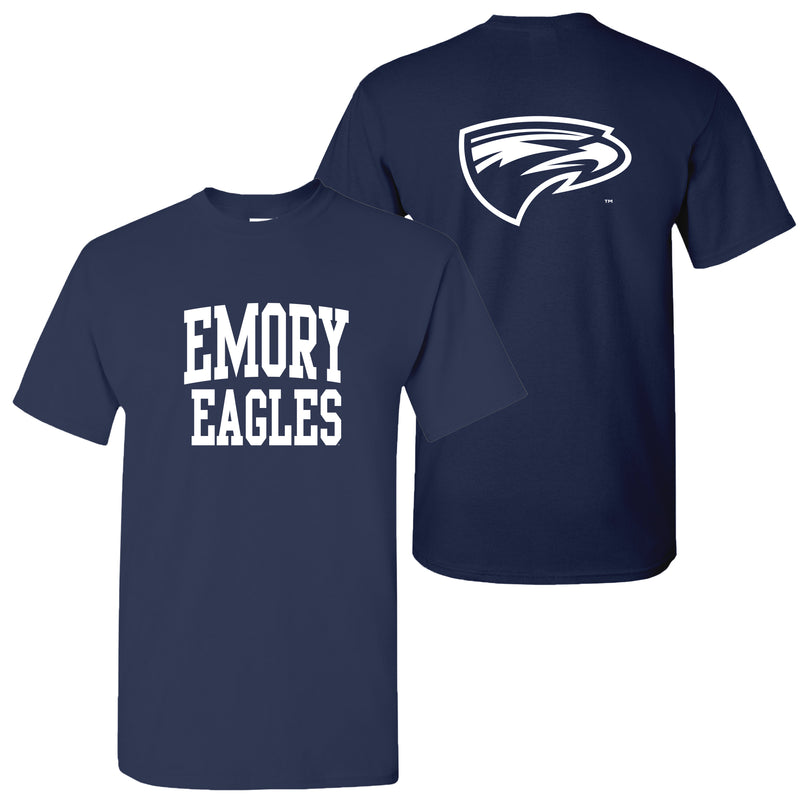 Emory University Eagles Front Back Print Short Sleeve T Shirt - Navy