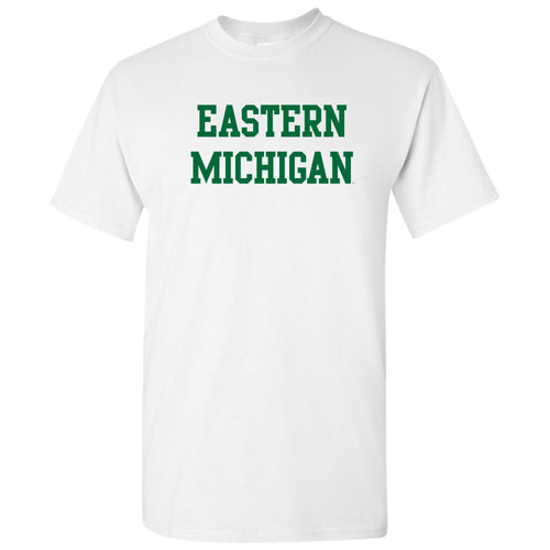 Eastern Michigan University Eagles Basic Block Short Sleeve T Shirt - White