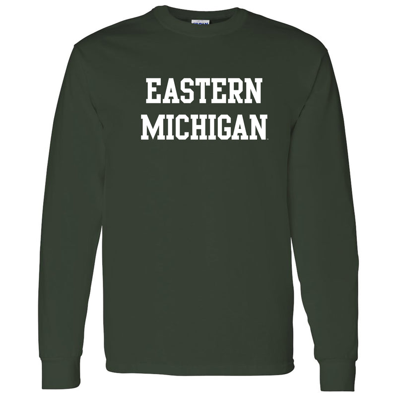Eastern Michigan University Eagles Basic Block Long Sleeve T Shirt - Forest
