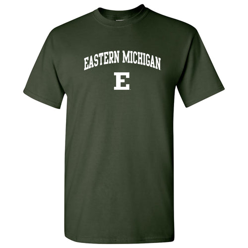 Eastern Michigan University Eagles Arch Logo Short Sleeve T Shirt - Forest