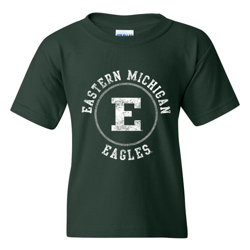 Eastern Michigan University Eagles Distressed Circle Logo Youth Short Sleeve T Shirt - Forest