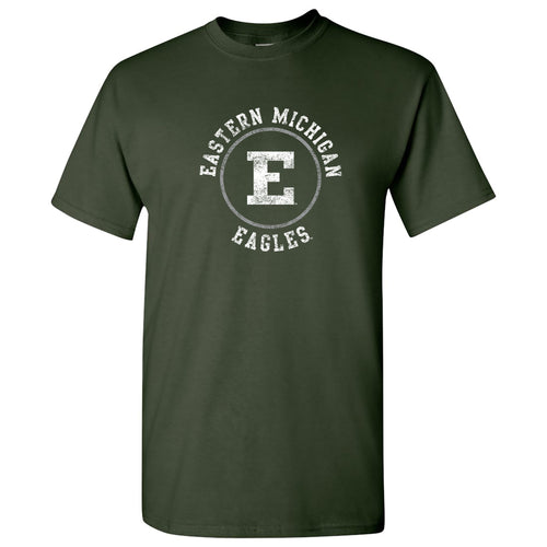 Eastern Michigan University Eagles Distressed Circle Logo Short Sleeve T Shirt - Forest
