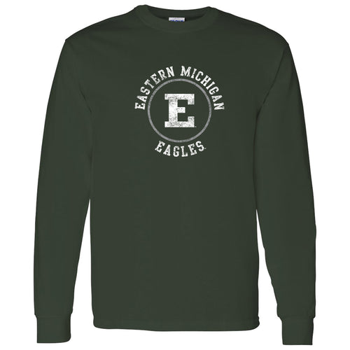 Eastern Michigan University Eagles Distressed Circle Logo Long Sleeve T Shirt - Forest