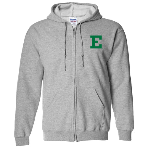 Eastern Michigan University Eagles Primary Logo Left Chest Full Zip Hoodie - Sport Grey