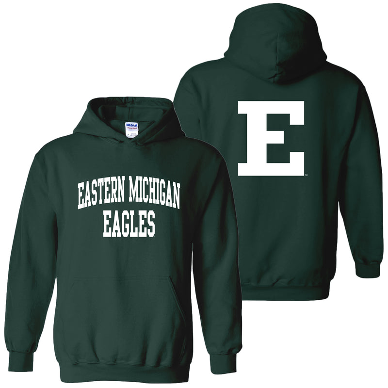 Eastern Michigan University Eagles Front Back Print Heavy Blend Hoodie - Forest