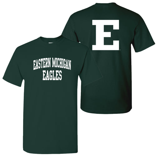Eastern Michigan University Eagles Front Back Print Short Sleeve T Shirt - Forest