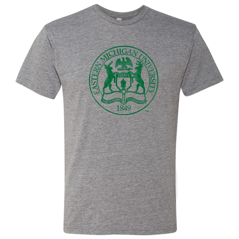 Eastern Michigan University Eagles Distressed Seal Next Level Short Sleeve T Shirt - Premium Heather