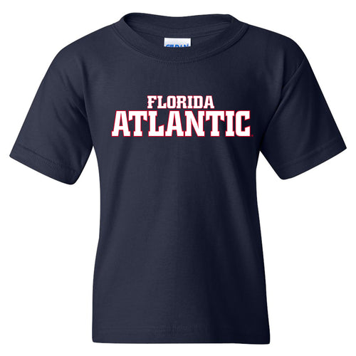 Florida Atlantic University Owls Basic Block Youth Short Sleeve T Shirt - Navy