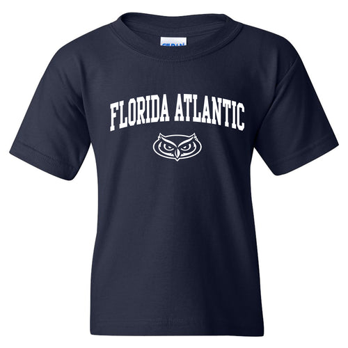 Florida Atlantic University Owls Arch Logo Youth Short Sleeve T Shirt - Navy