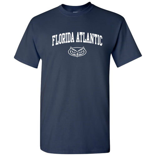 Florida Atlantic University Owls Arch Logo Short Sleeve T Shirt - Navy