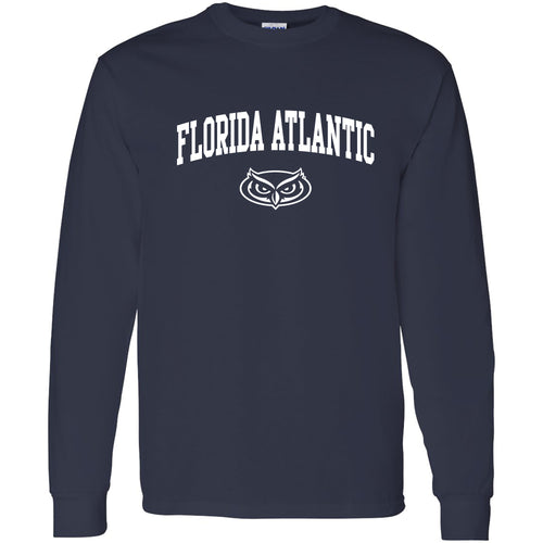 Florida Atlantic University Owls Arch Logo Long Sleeve T-Shirt - Navy