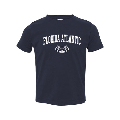 Florida Atlantic University Owls Arch Logo Toddler Short Sleeve T Shirt - Navy