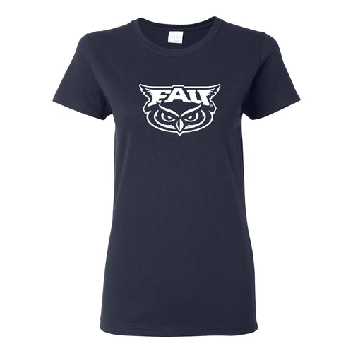 Florida Atlantic University Owls Primary Logo Womens Short Sleeve T Shirt - Navy