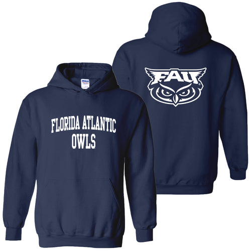 Florida Atlantic University Owls Front Back Print Heavy Blend Hoodie - Navy