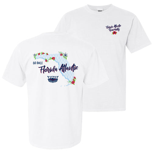 Florida Atlantic University Owls Floral State Comfort Colors Short Sleeve T Shirt - White