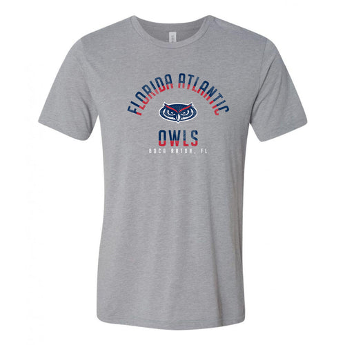 Florida Atlantic University Owls Division Arch Canvas Triblend Short Sleeve T Shirt - Athletic Grey
