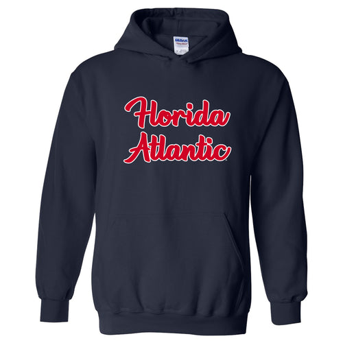 Florida Atlantic University Owls Basic Script Heavy Blend Hoodie - Navy