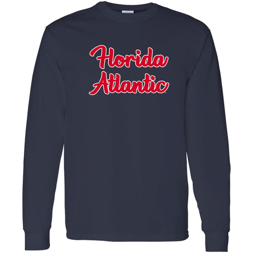Florida Atlantic University Owls Basic Script Cotton Long Sleeve T Shirt - Navy