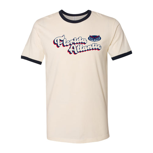 Florida Atlantic University Owls Groovy Script Logo Ringer T Shirt - Natural/Midnight Navy