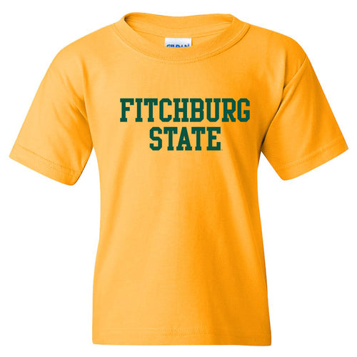 Fitchburg State University Falcons Basic Block Youth Short Sleeve T Shirt - Gold
