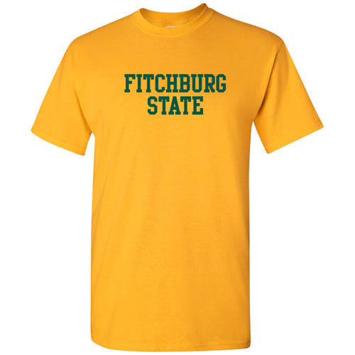 Fitchburg State University Falcons Basic Block Short Sleeve T Shirt - Gold