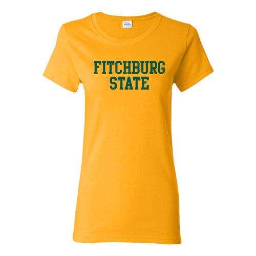 Fitchburg State University Falcons Basic Block Womens Short Sleeve T Shirt - Gold