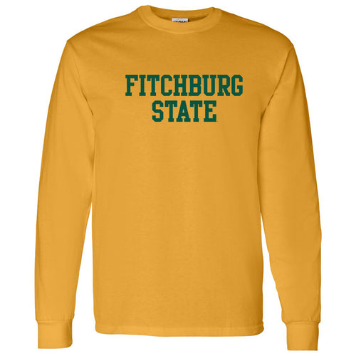 Fitchburg State University Falcons Basic Block Long Sleeve T Shirt - Gold