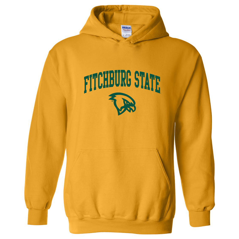 Fitchburg State University Falcons Arch Logo Hoodie - Gold