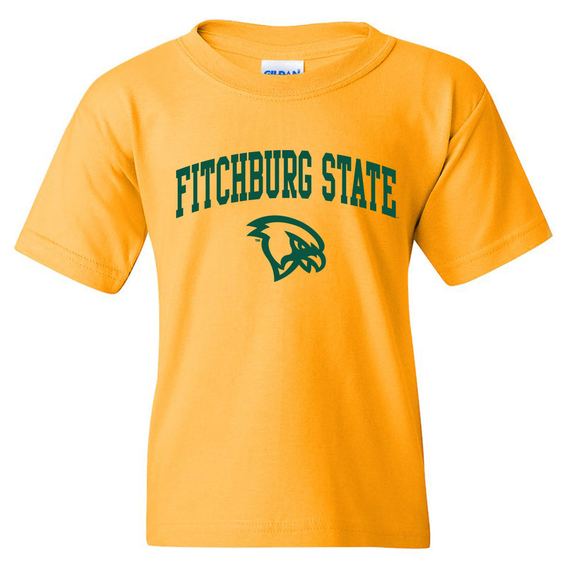 Fitchburg State University Falcons Arch Logo Youth Short Sleeve T Shirt - Gold