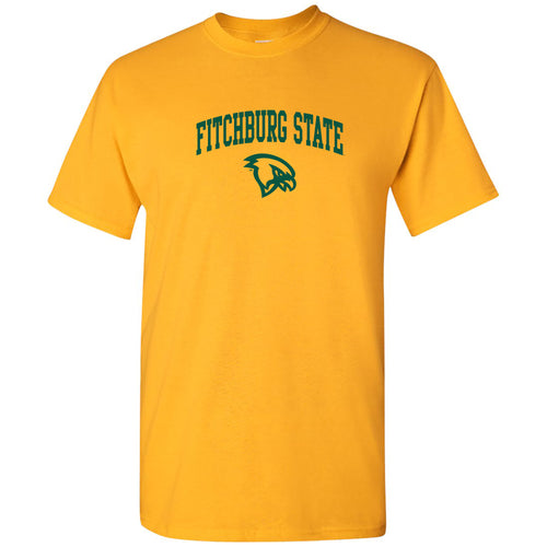 Fitchburg State University Falcons Arch Logo Short Sleeve T Shirt - Gold