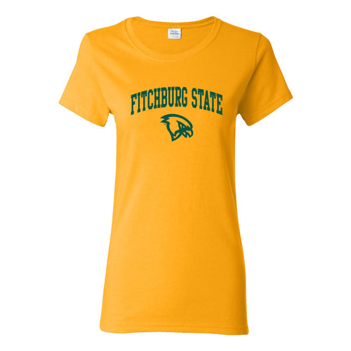 Fitchburg State University Falcons Arch Logo Womens Short Sleeve T Shirt - Gold