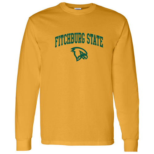 Fitchburg State University Falcons Arch Logo Long Sleeve T Shirt - Gold