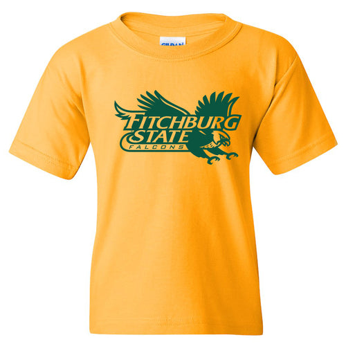 Fitchburg State University Falcons Primary Logo Youth Short Sleeve T Shirt - Gold